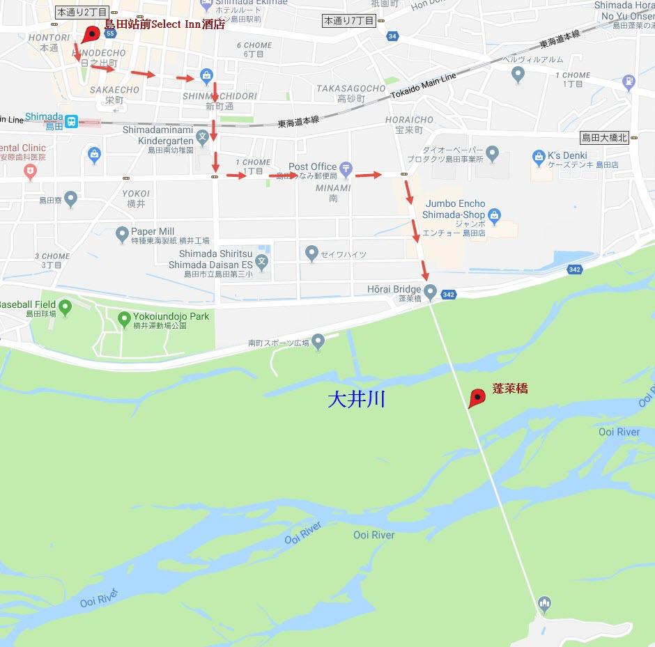 島田站前 Select Inn 酒店步行往蓬萊橋路線地圖