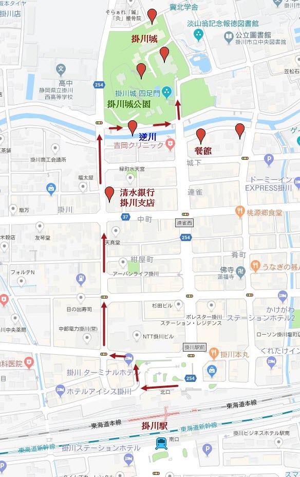 掛川駅步行往掛川城路線地圖