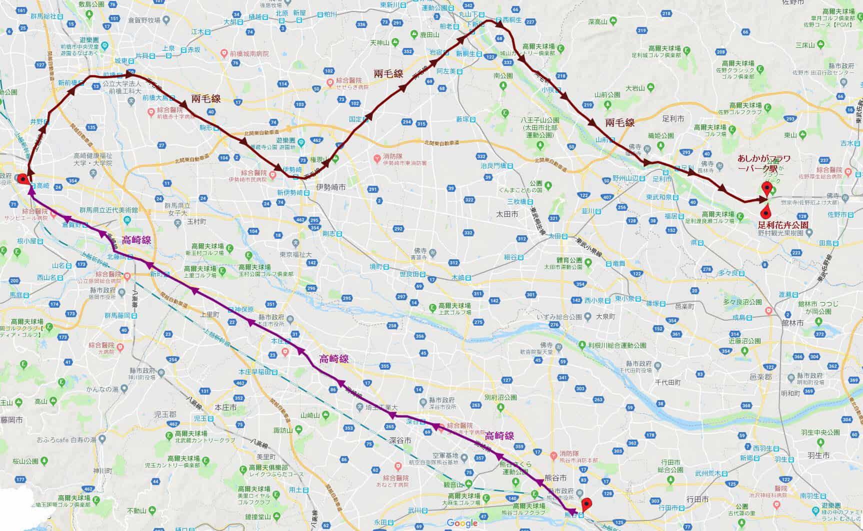 乘高崎線往高崎 轉乘兩毛線往足利花卉公園路線地圖