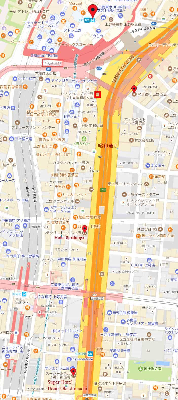 上野・御徒町超级酒店 Super Hotel Ueno-Okachimachi 地圖