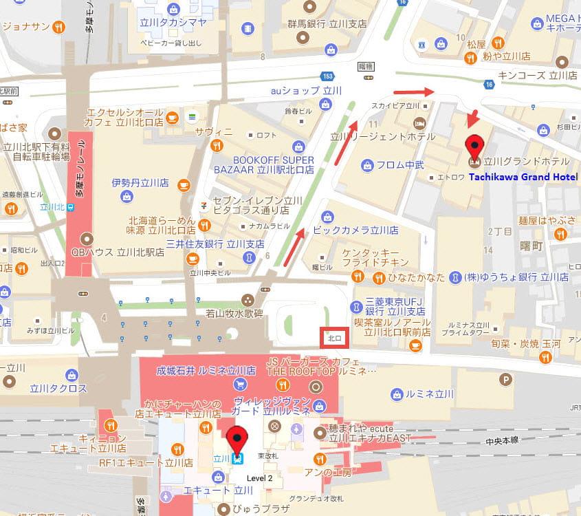 立川格蘭德酒店地圖