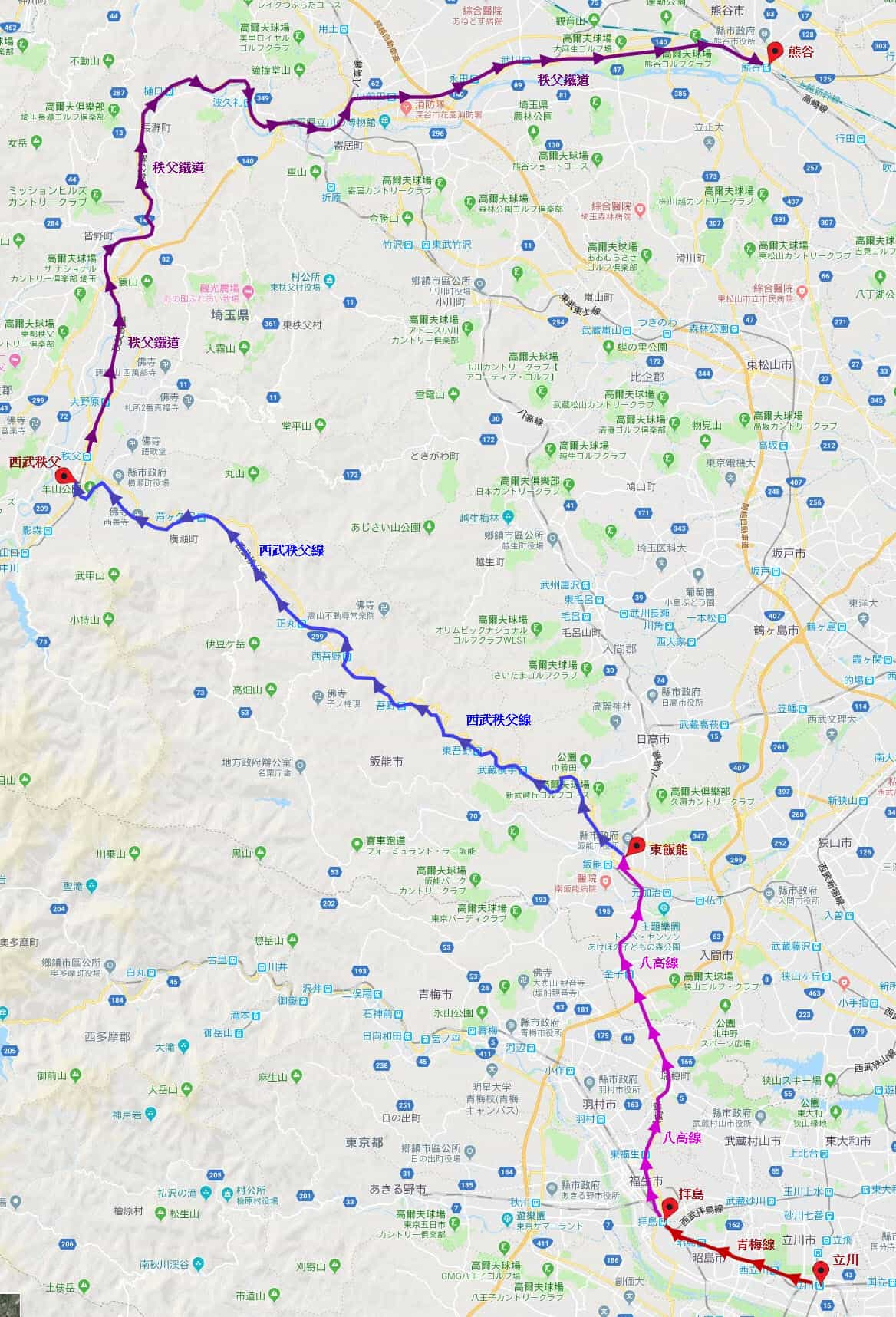 立川經西武秩父到熊谷交通路線地圖