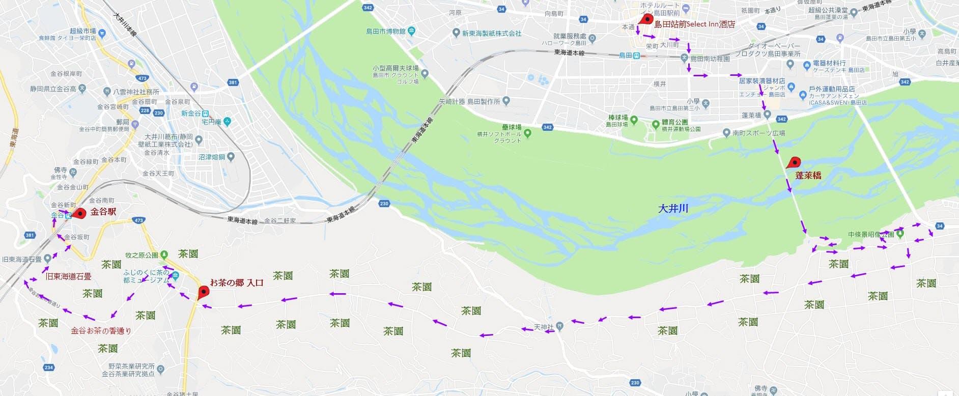 蓬萊橋及靜岡茶園遠足路線地圖