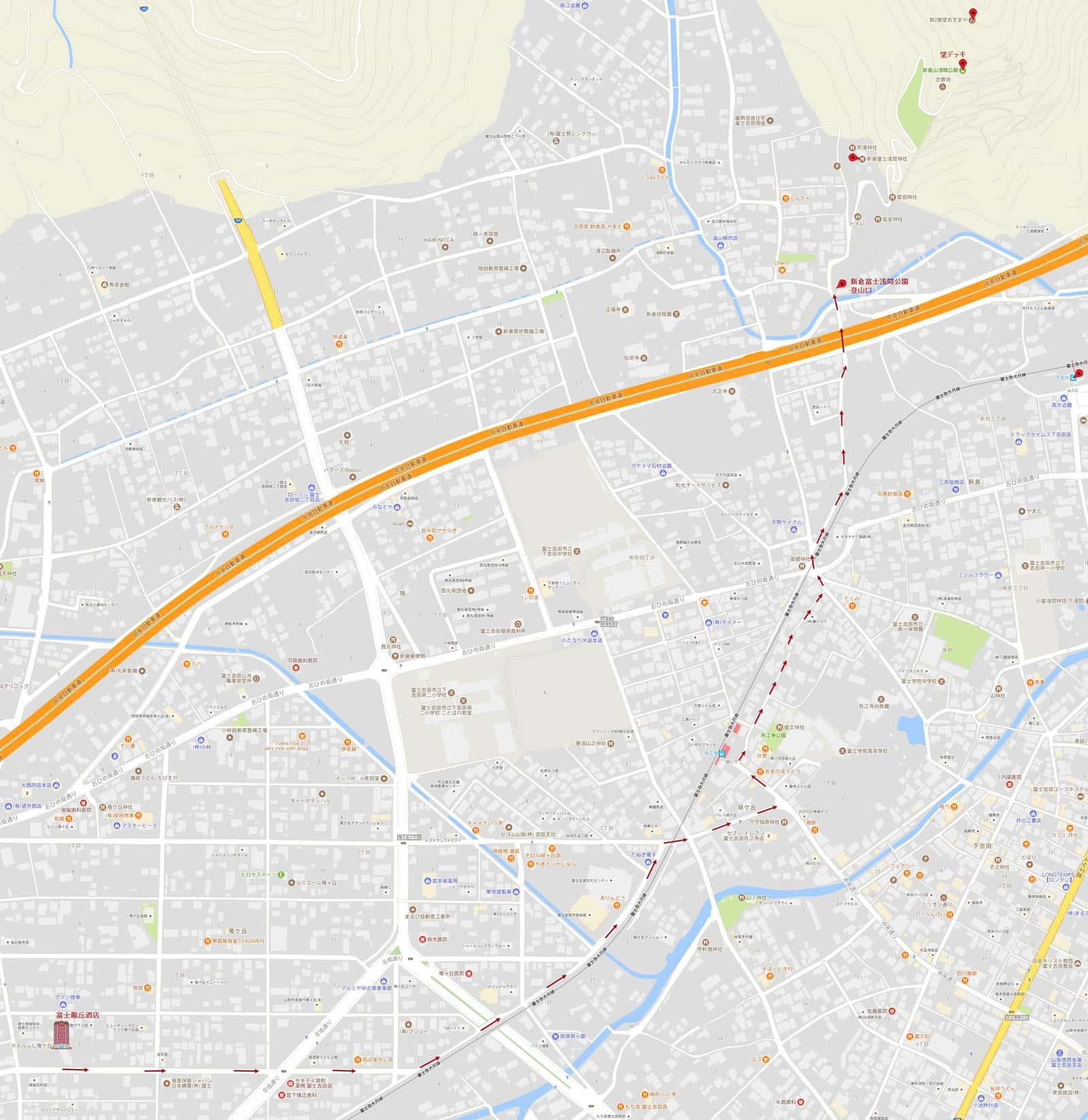 富士龍丘酒店步行往新倉富士浅間公園路線地圖