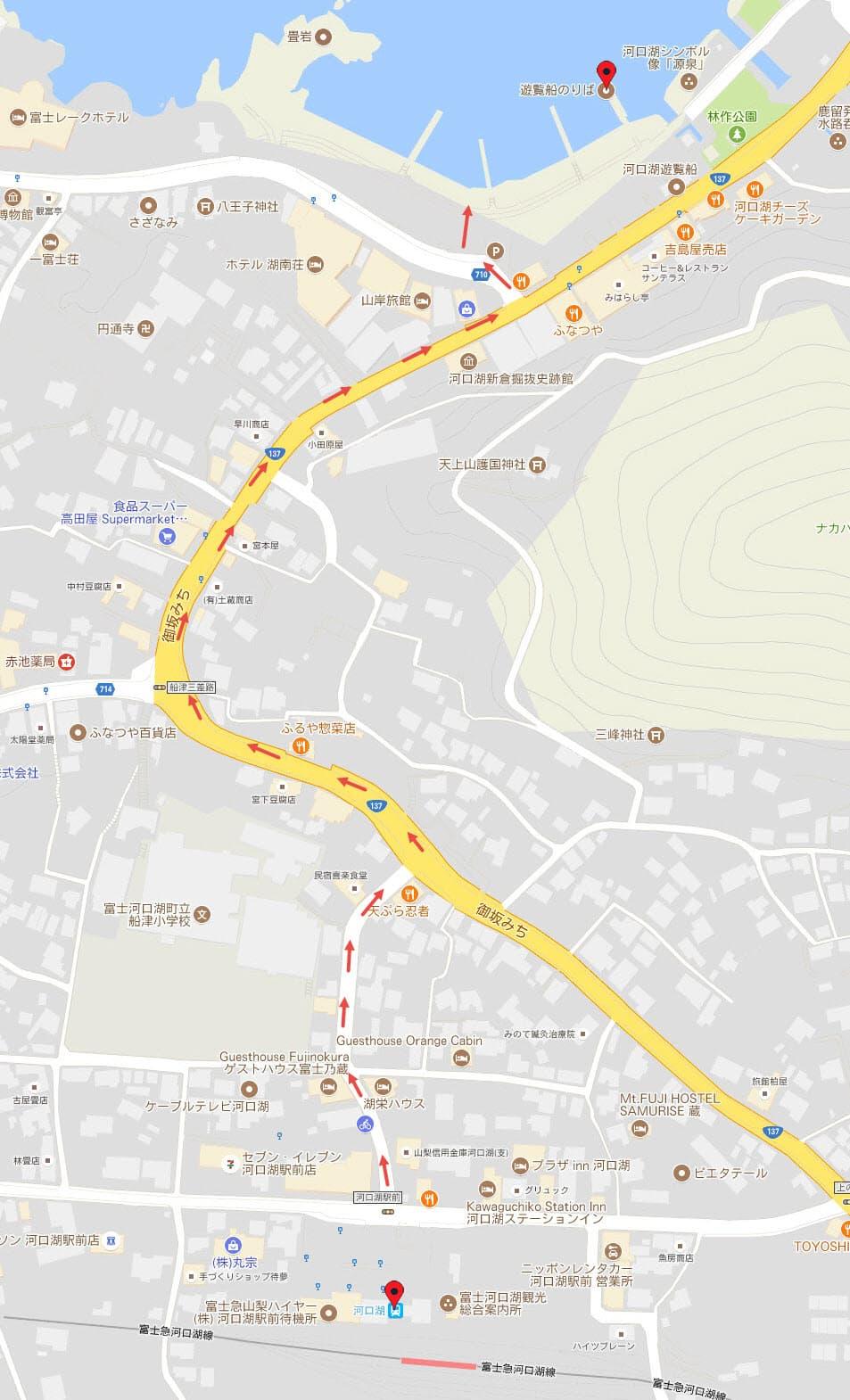 河口湖駅步行往河口湖路線地圖