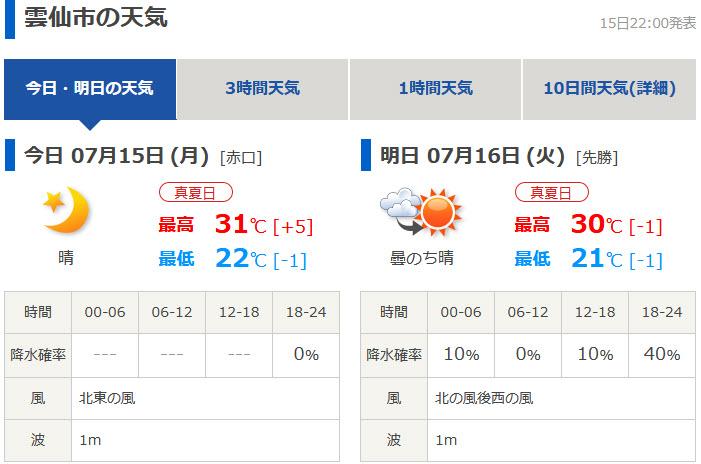 tenki.jp 日本氣象協會天氣預測 長崎縣雲仙