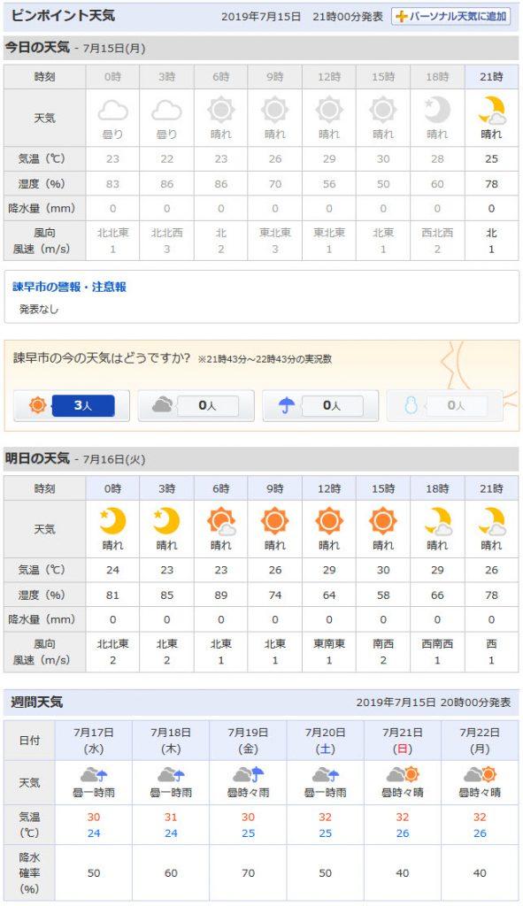 Yahoo! 日本天氣預報 長崎縣諫早市
