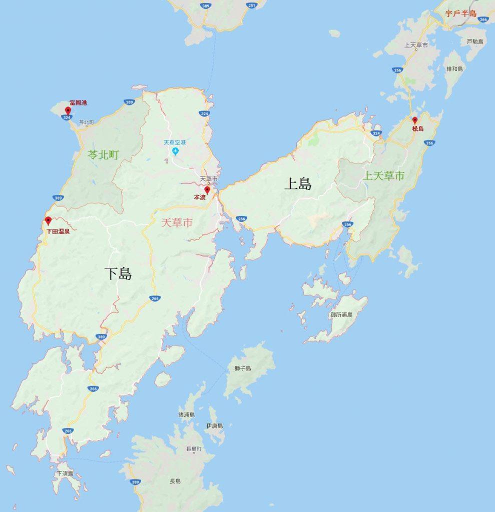 日本熊本縣天草諸島 (天草群島)地圖