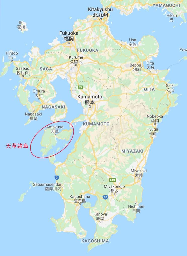 日本熊本縣天草諸島 (天草群島)在九州的位置
