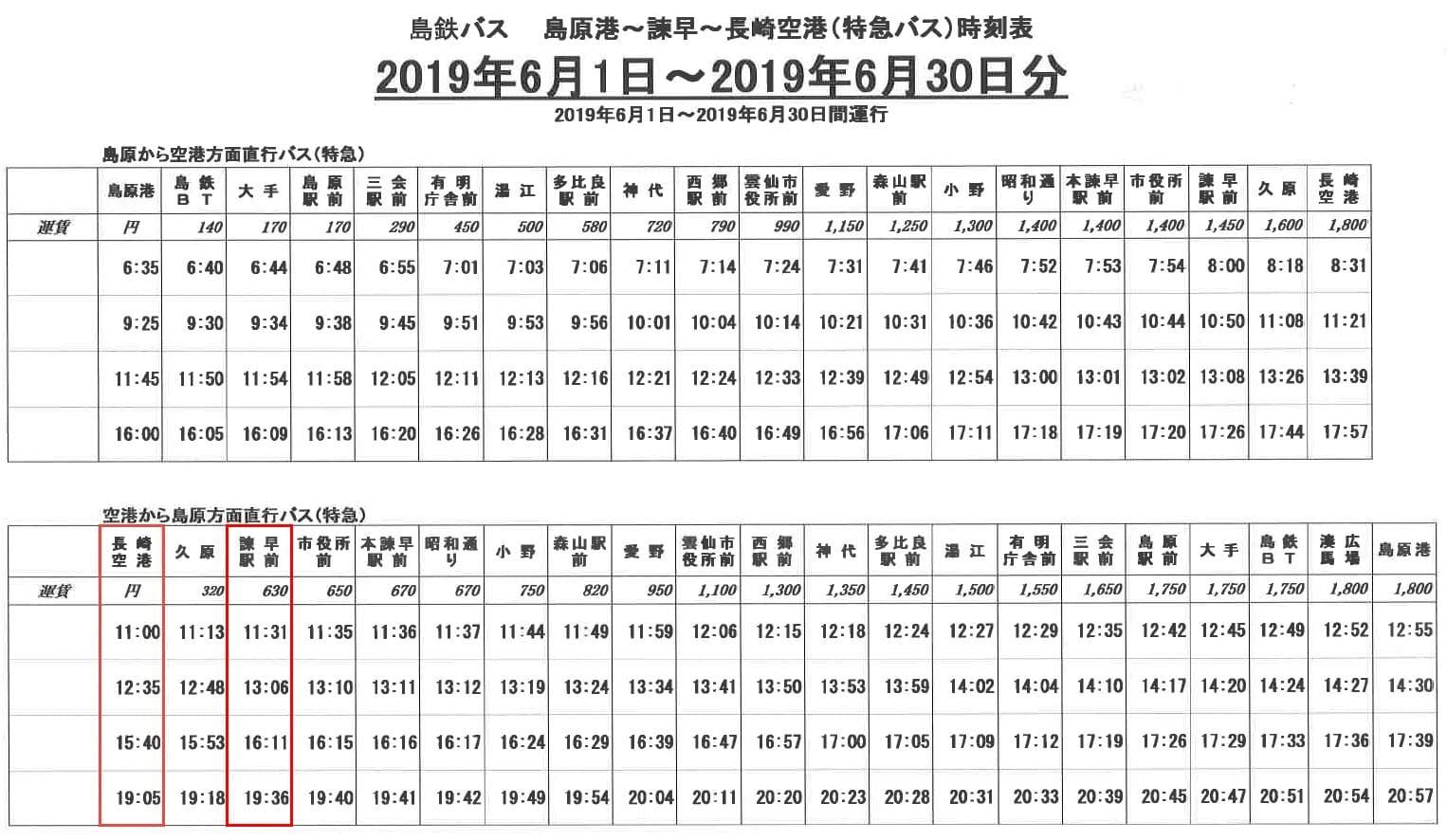 島鉄公車: 長崎空港-諫早駅線 時刻表