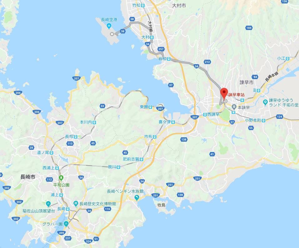 長崎空港、諫早駅、長崎市區地圖