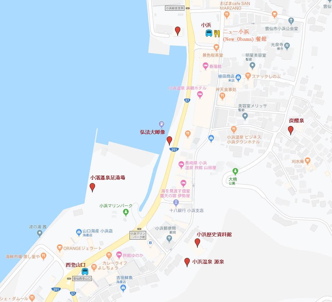 雲仙市 小浜 遊覽地圖