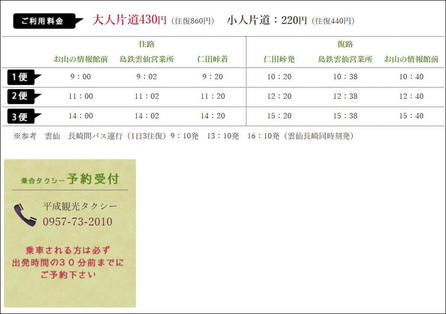 雲仙溫泉區往仁田峠纜車站 計程車