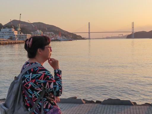 長崎港女神大橋 黃昏景色