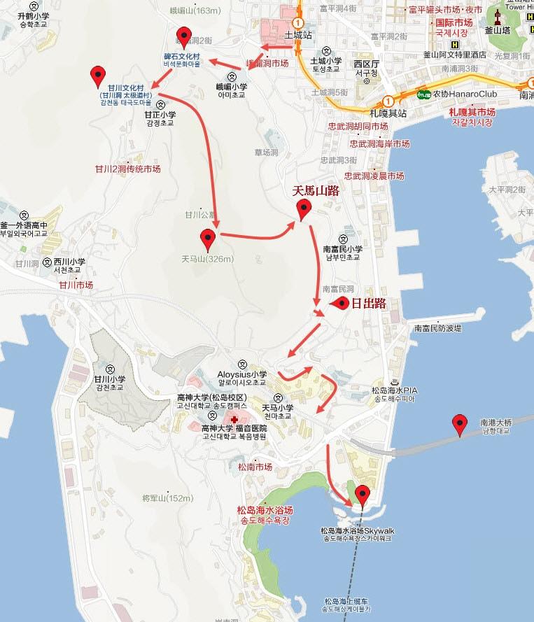 峨嵋洞 碑石文化村步行路線圖