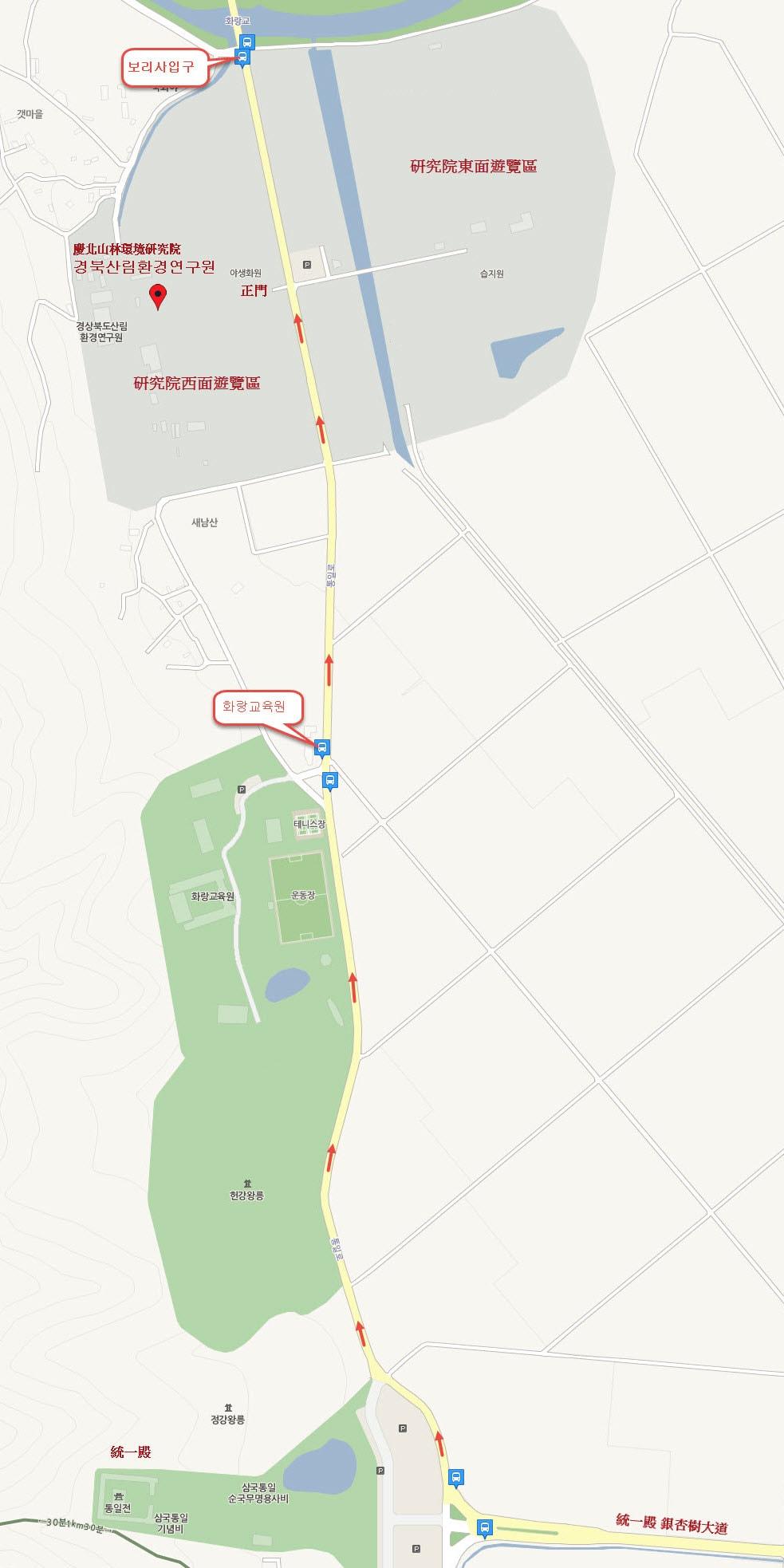 統一殿步行往慶北山林環境研究院地圖