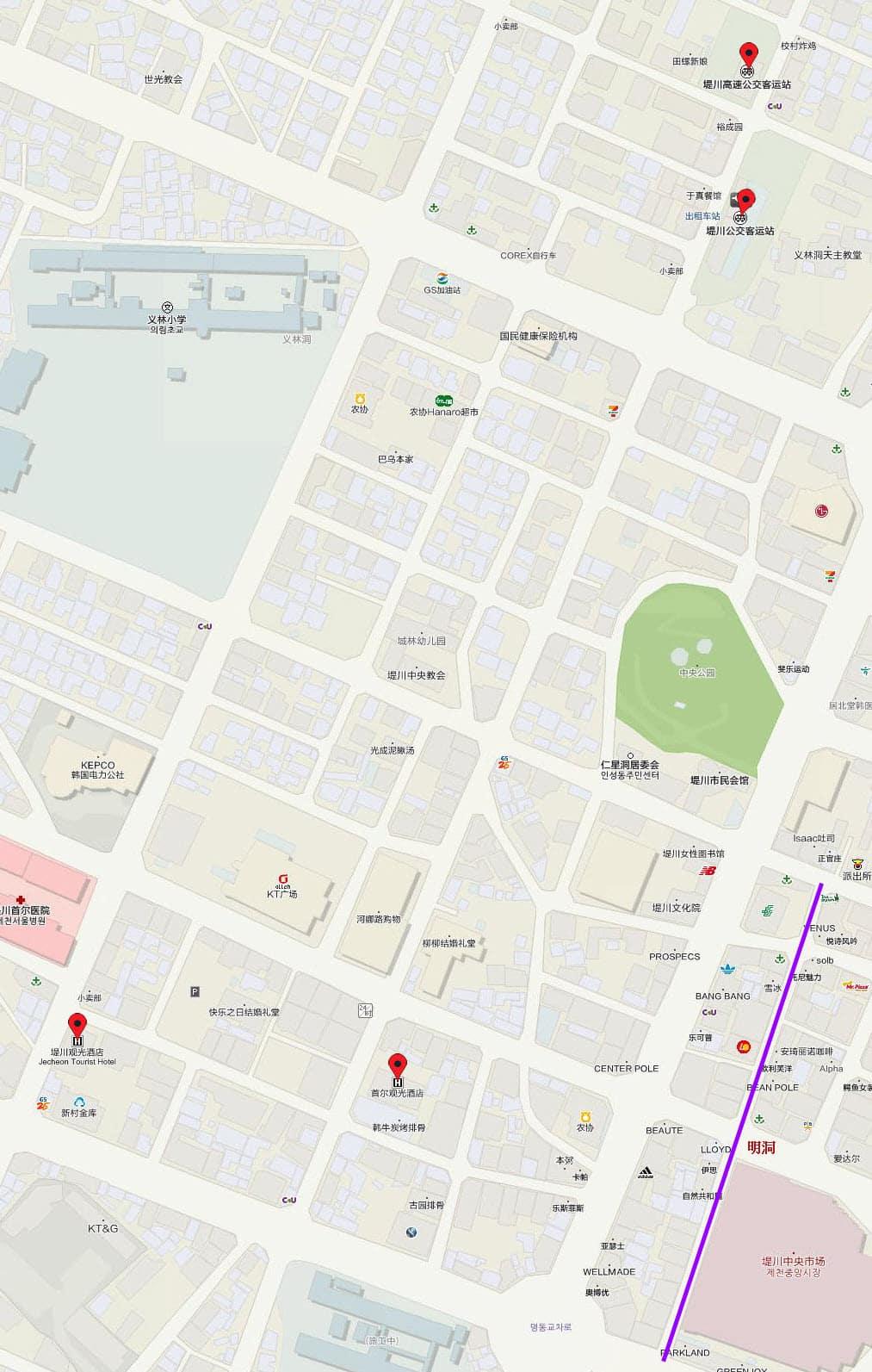 堤川公交客運站 步行往 堤川觀光酒店 地圖