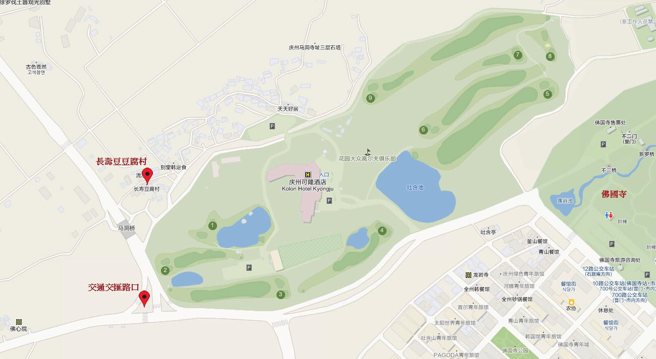 慶州可隆酒店、佛國寺地圖