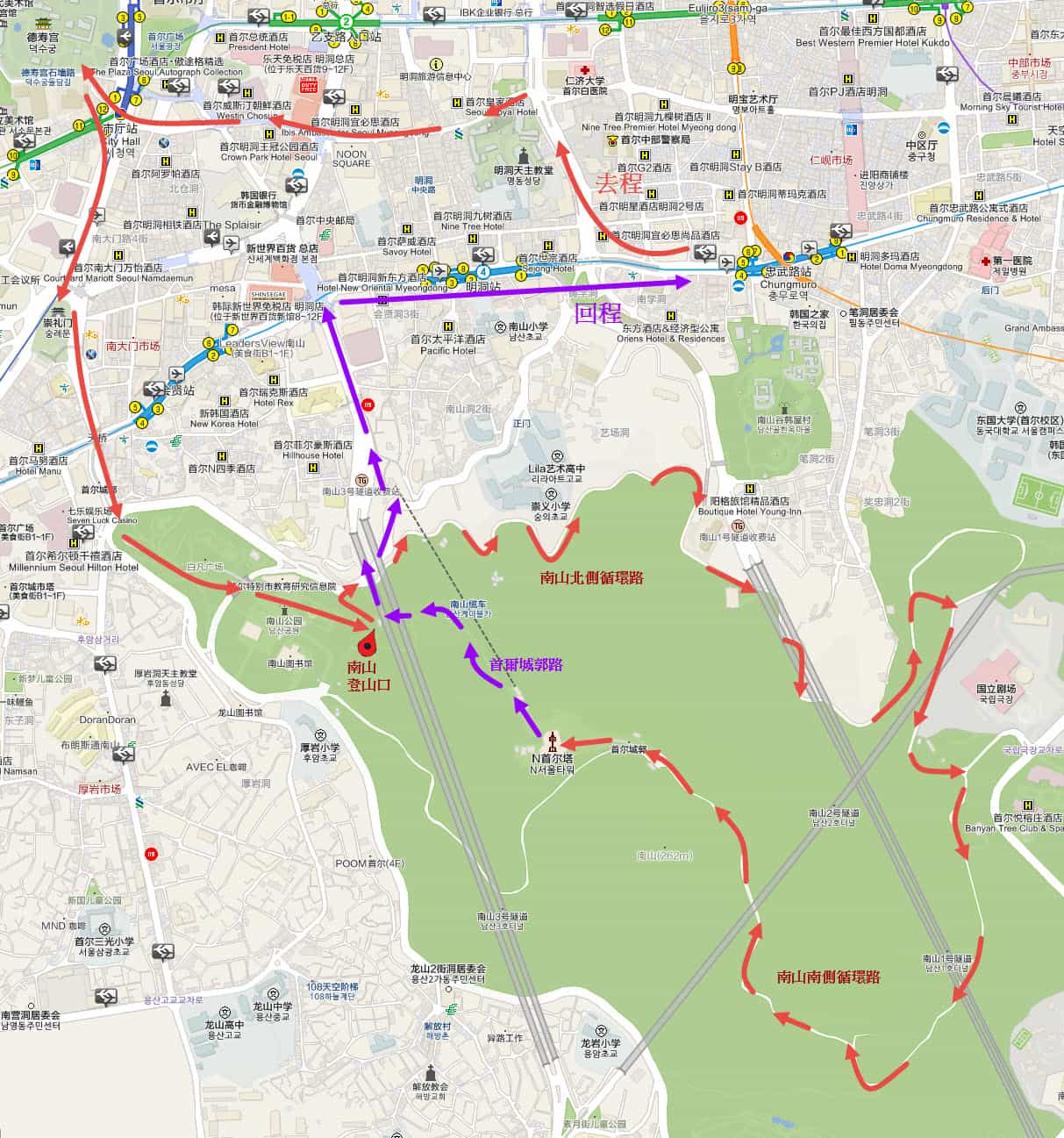 首爾市一天賞紅楓路線遠足路線地圖