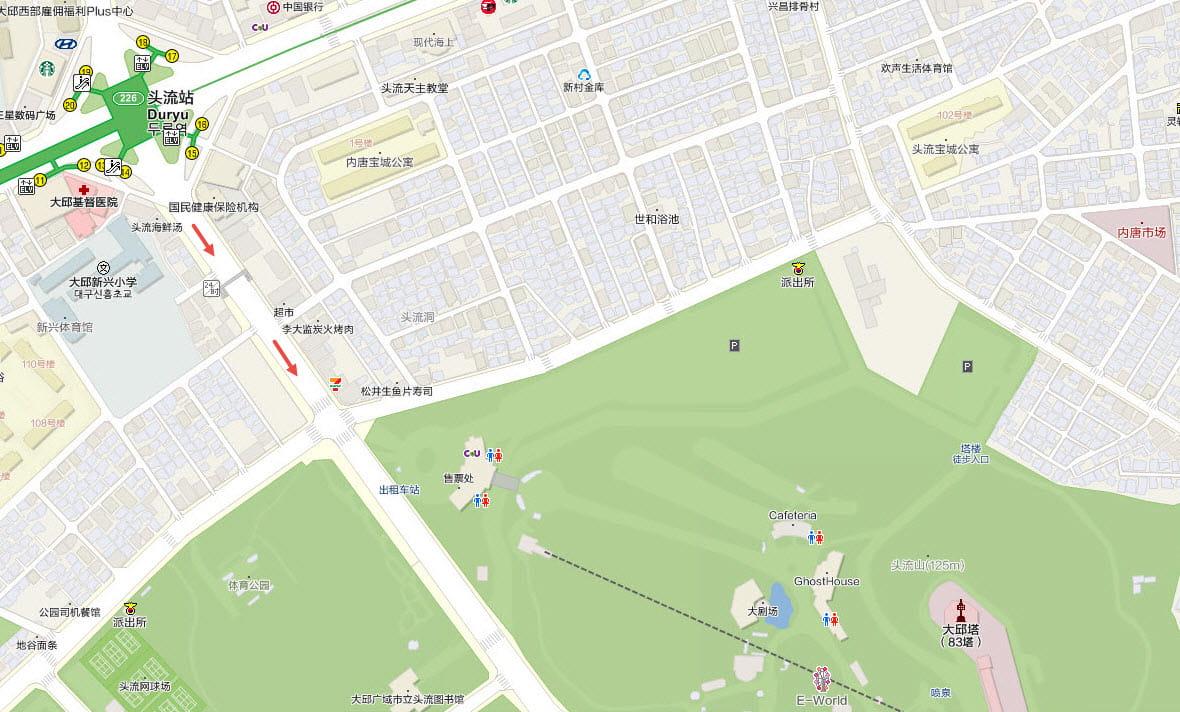 地鐵頭流站步行往大邱塔地圖
