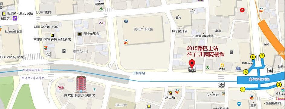 首爾 明洞 Wons Ville 飯店 地圖
