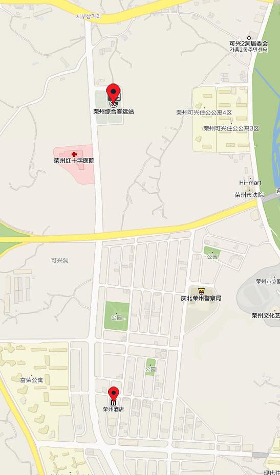 榮州綜合客運站、榮州酒店地圖