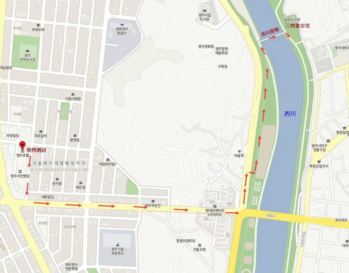 韓國榮州酒店步行到西川對岸步行路線圖