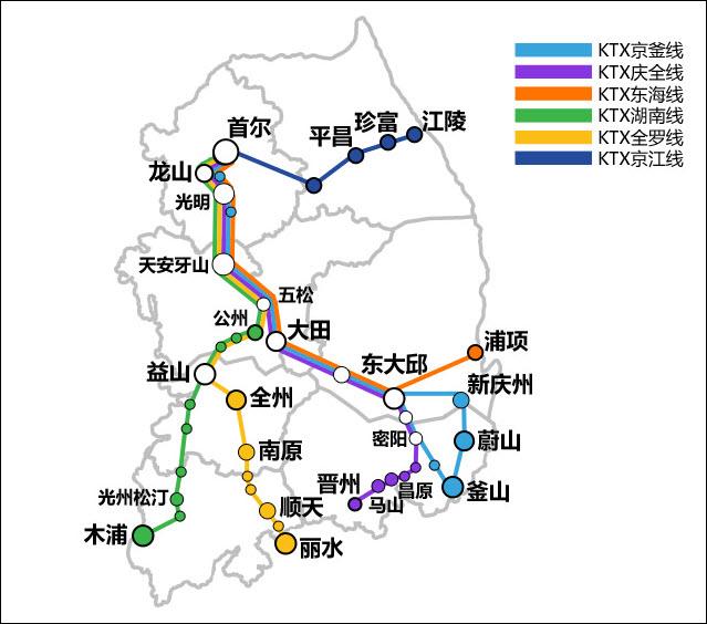 韓國 KTX 路線圖