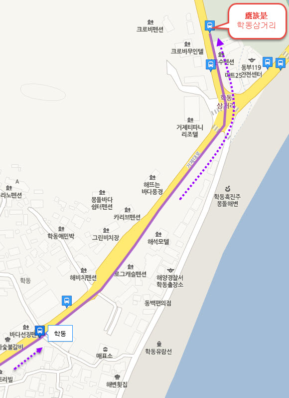 geojedo-hakdong-to-gohyun-bus-stop-location