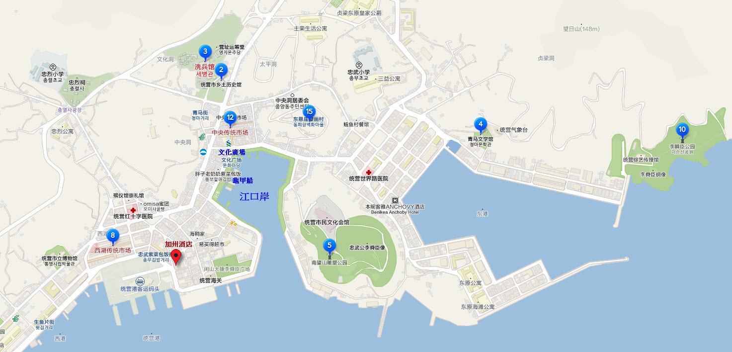 韓國統營市遊覽地圖及步行路線