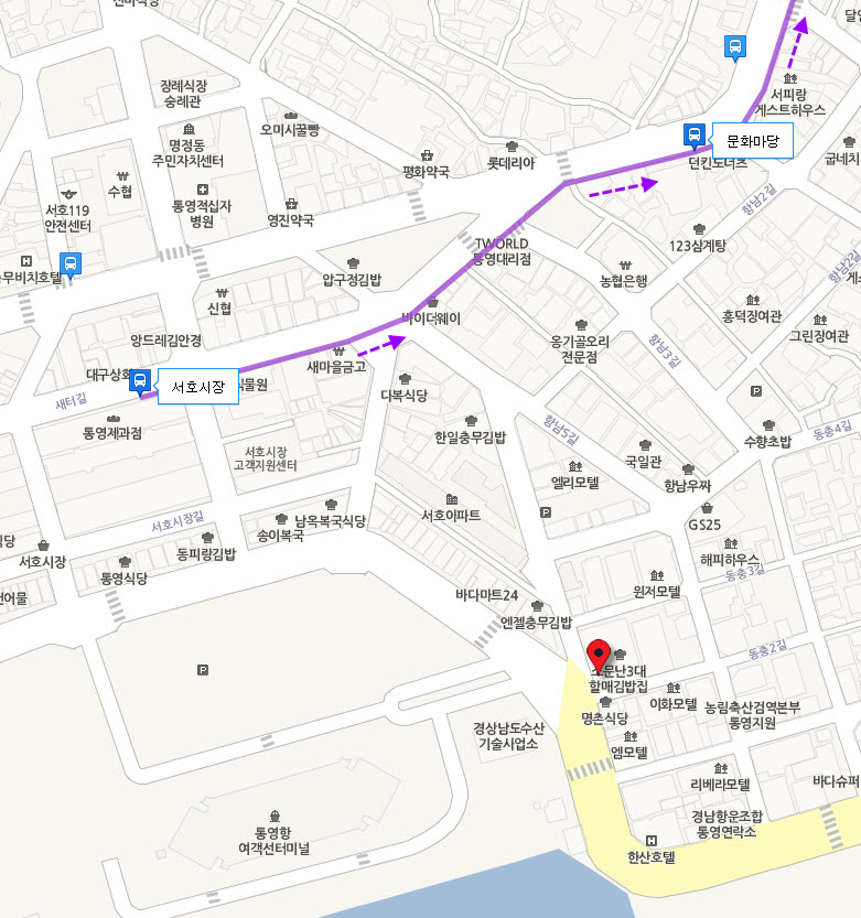 tongyeong-hotel-bus-stop-to-bus-terminal-map