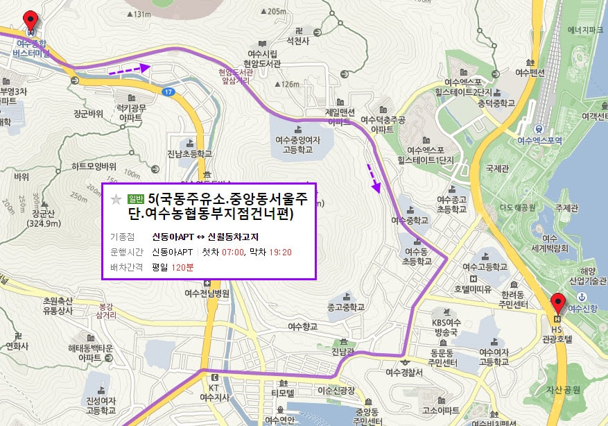 yeosu-bus-terminal-to-hotel-bus-no-5-route-01