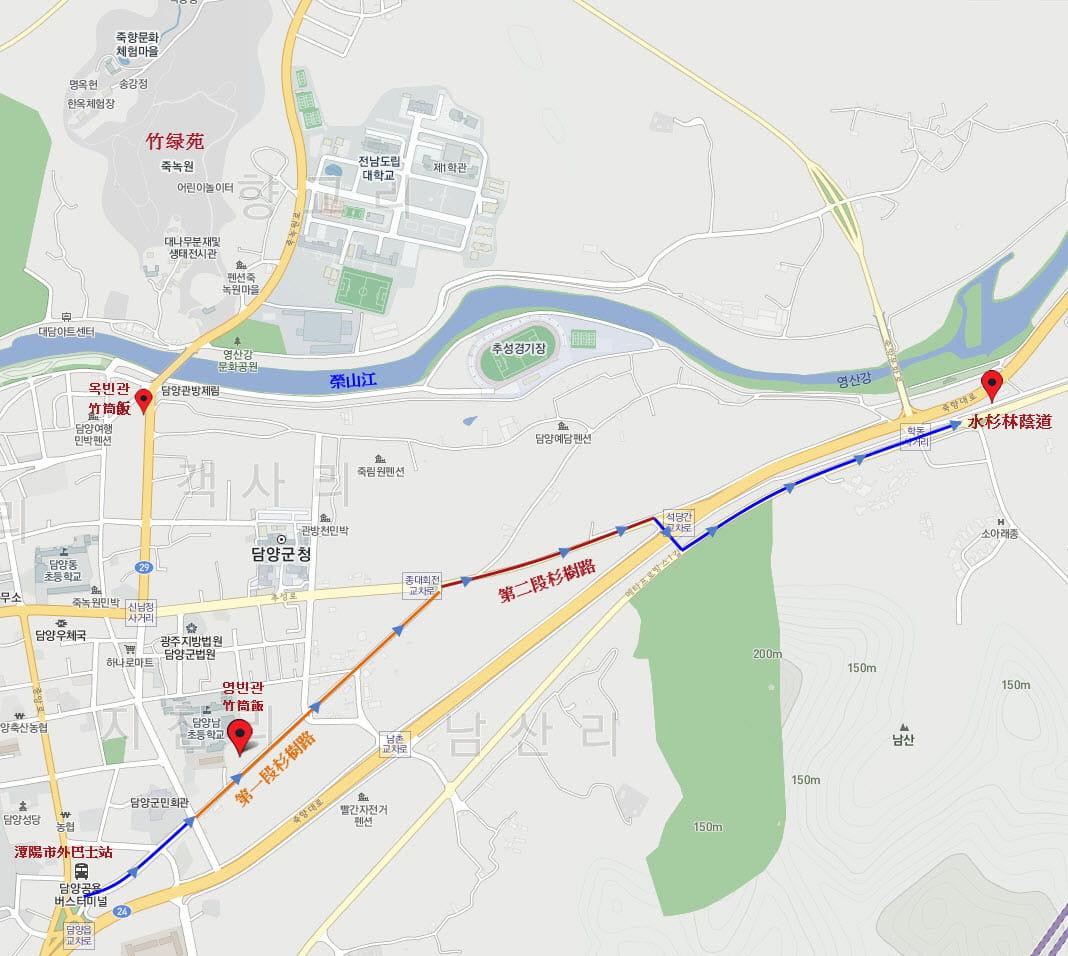 damyang-bus-stop-walk-to-metasequoia-road-route