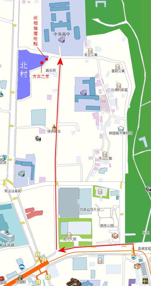 昌德宮往中央高中及北村路線圖