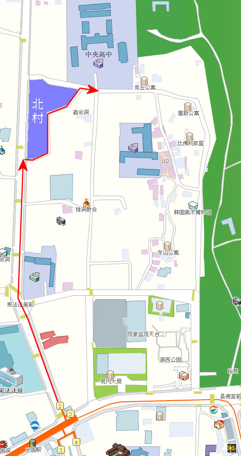 安國地鐵站往北村及中央高中路線圖