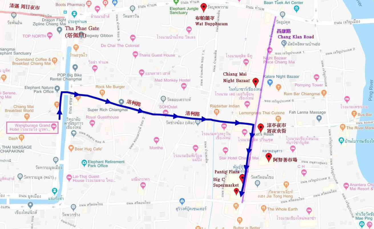清邁市步行路線圖: Loi Kroh Road (洛柯路)、昌康路 (Chang Klan Road)