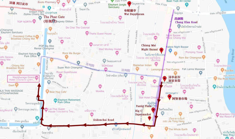 涼亭夜市宵夜食街步行經 Sridonchai Road 往清邁舊城路線地圖