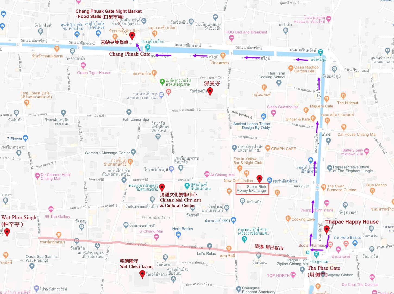 清邁市往素帖寺雙條站位置地圖