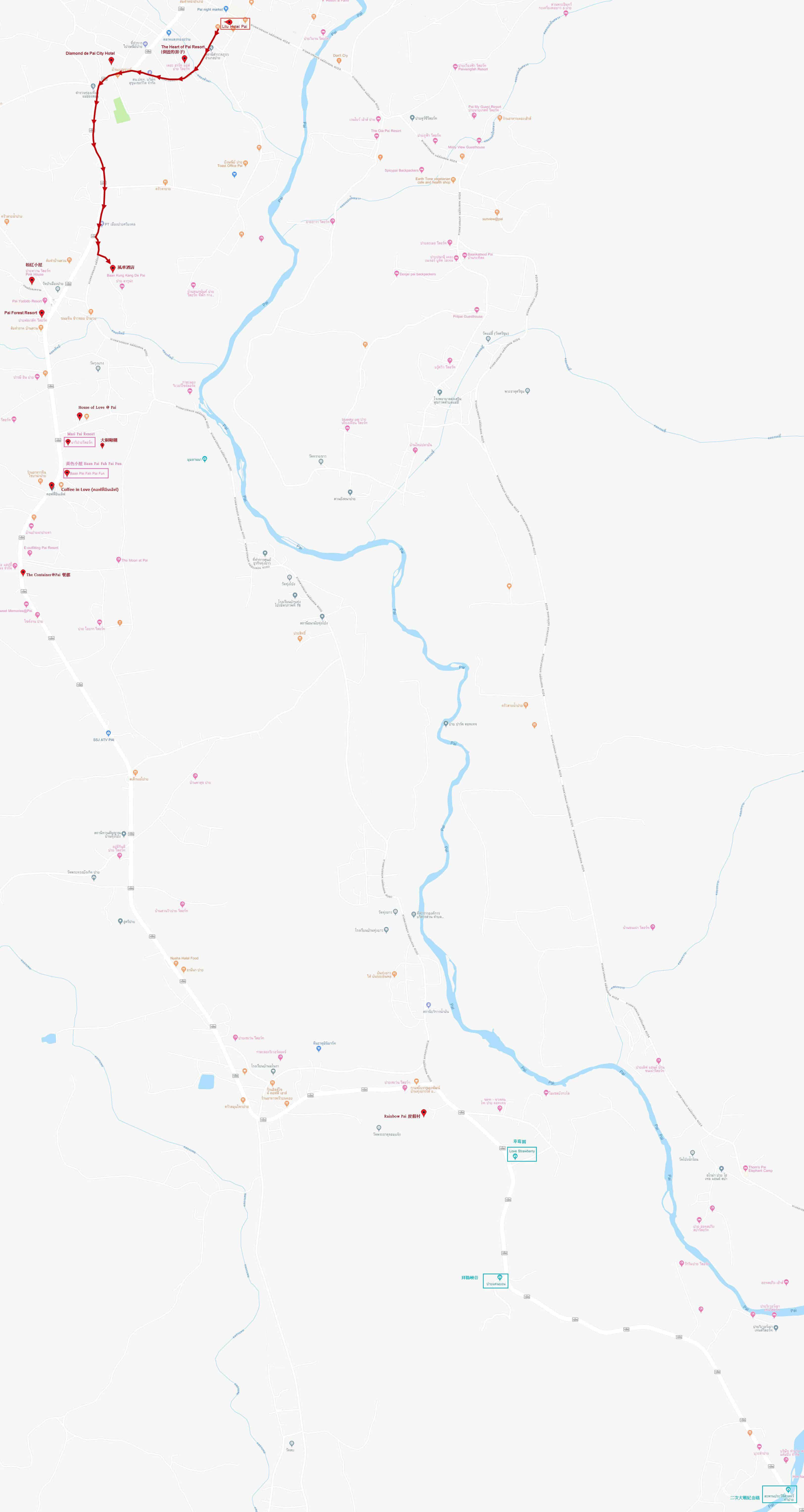 拜縣市中心至 Kungkang De Pai 風車酒店的步行路線地圖