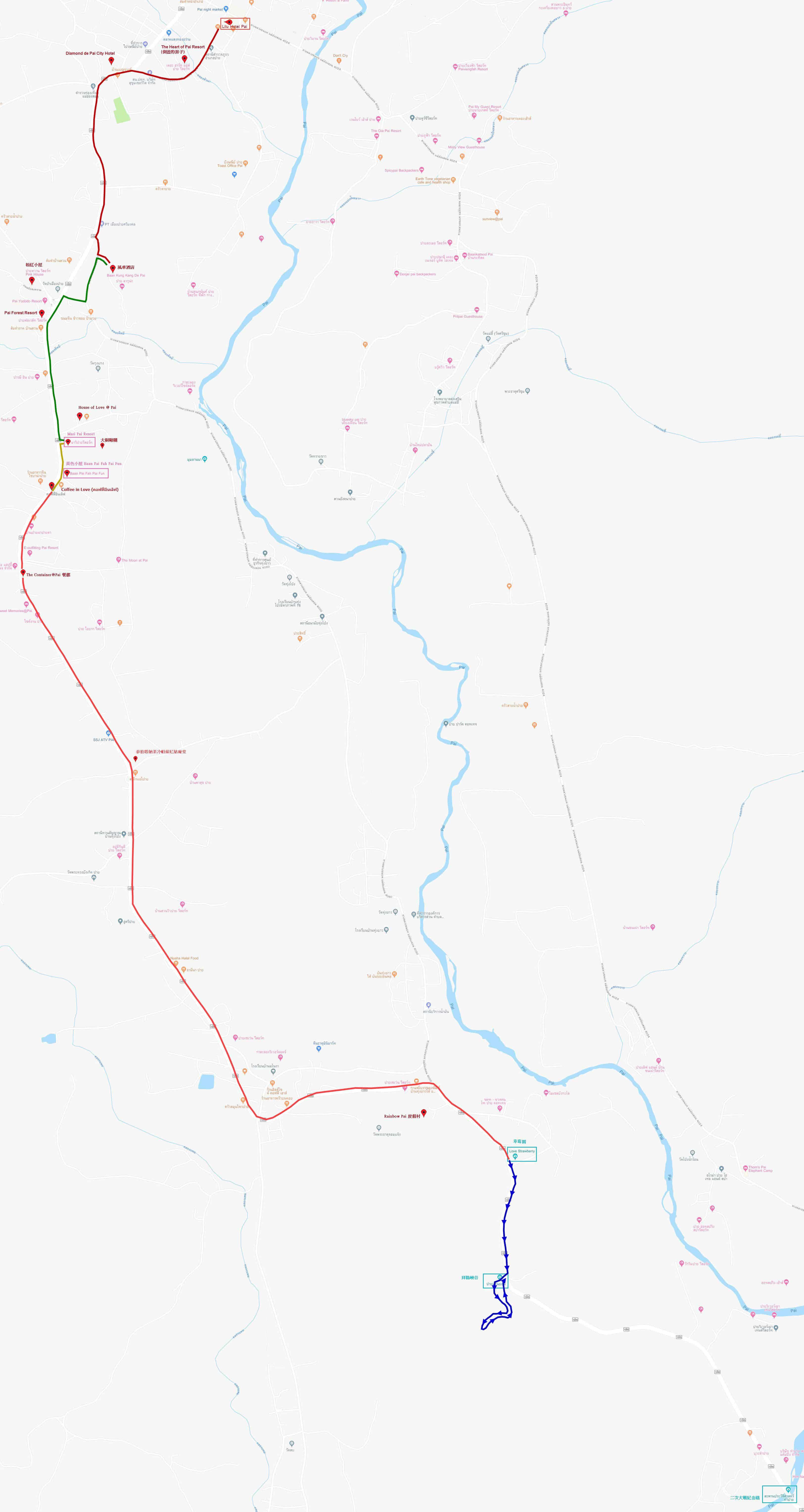拜縣草莓園步行到拜縣峽谷路線地圖