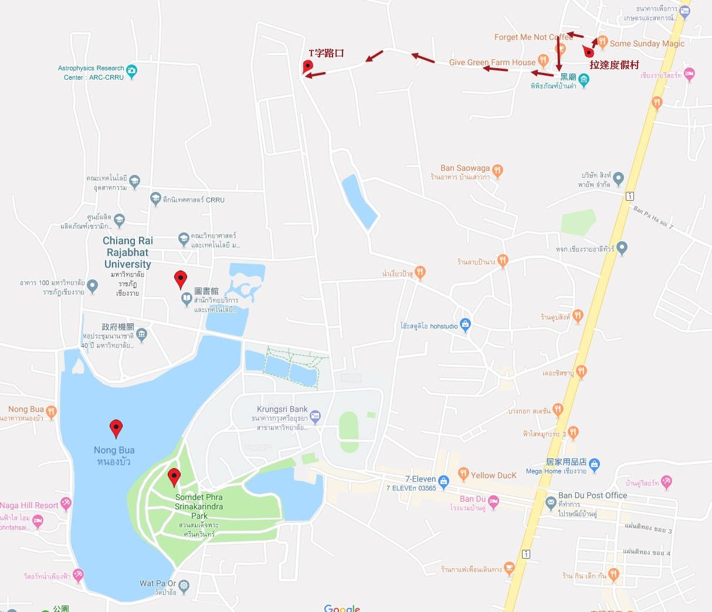 拉達度假屋 步行到 Somdet Phra Park, Nong Bua 湖路線圖