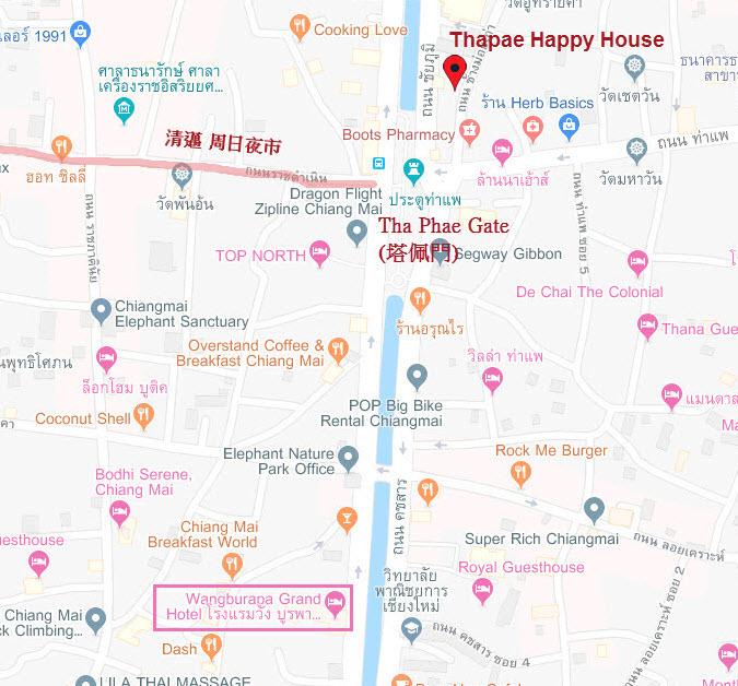 清邁 旺布拉帕大飯店 Wangburapa Grand Hotel 舊城區 Tha Pae Gate 地圖