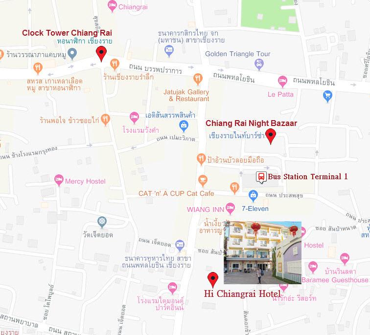 清萊夜市和鐘樓地圖