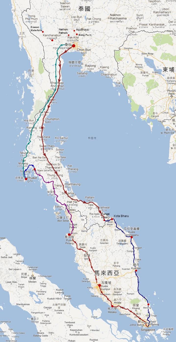 環遊泰國、馬來西亞、新加坡旅遊路線圖