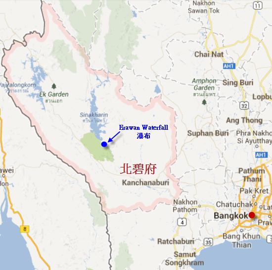 泰國 北碧府 Erawan Waterfall 瀑布地圖