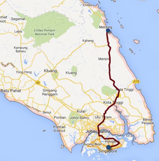 馬來西亞東岸 Mersing 乘 共享計程車(Shared Taxi) 往新加坡路線圖