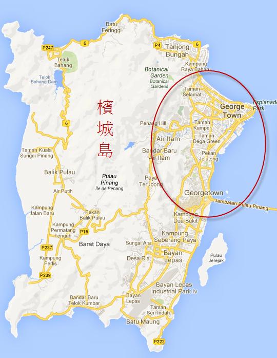 馬來西亞檳城島 (Penang Island)喬治市 (George Town)地圖
