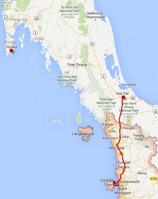 馬來西亞檳城乘車往泰國邊境市鎮 Hat Yai 路線圖