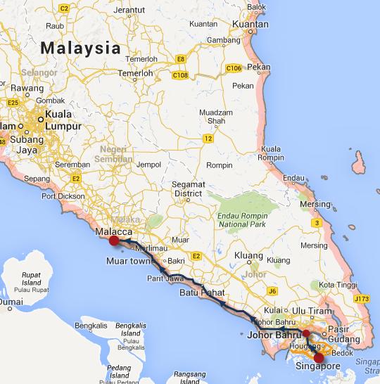 新加坡乘巴士往馬來西亞西岸馬六甲 (Melaka)路線圖