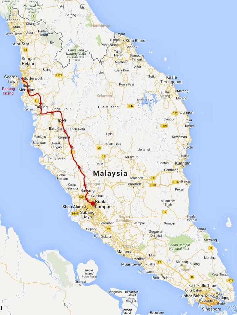 馬來西亞吉隆坡火車往北海市 (Butterworth) 路線